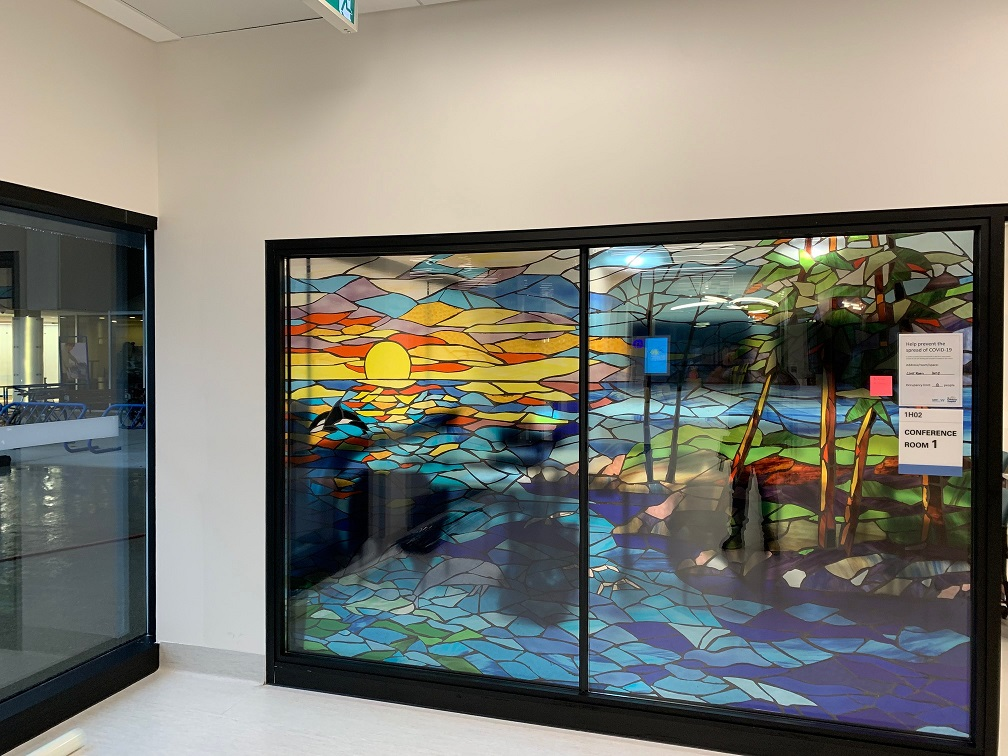glass graphics added to 6 foot glass window