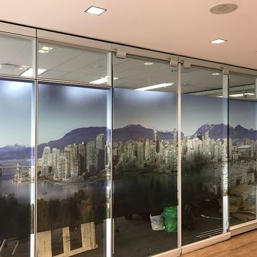 office glass wall with installed graphics