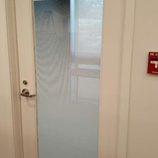 decorative film installed on a door